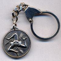 Portachiavi in argento raffigurante la trinacria.