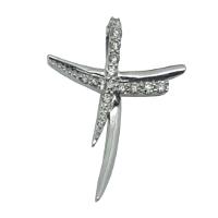 Ciondolo croce con diamanti.