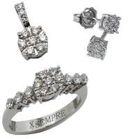 Completo con diamanti naturali.