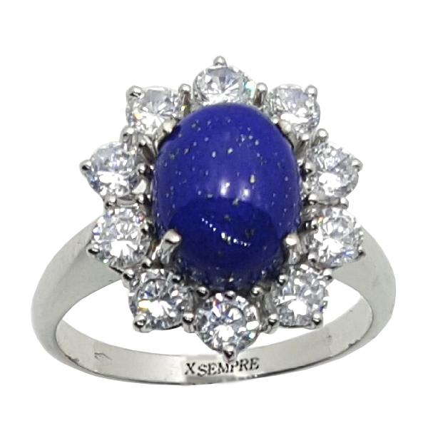 Anello con lapislazzulo e diamanti.