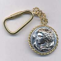 Portachiavi in oro e argento raffigurante l'Aretusa.