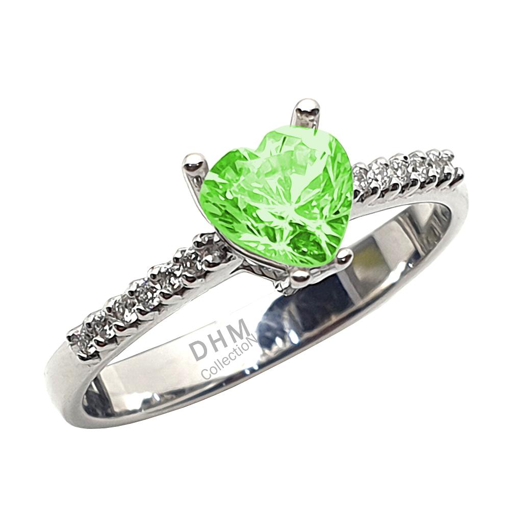 Anello DHM con peridoto e diamanti.