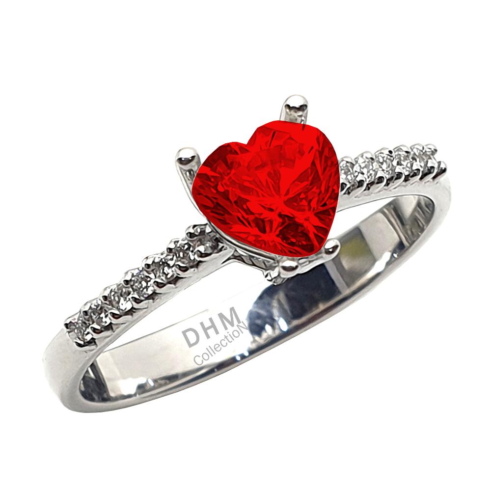 Anello DHM con rodolite e diamanti.